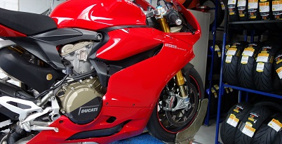 Ducati 1199 Panigale S for service and tyres at Balmain Motorcycles Sydney